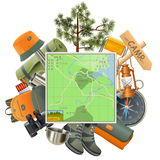 Vector Camping Concept with Map Stock Images