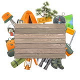 Vector Camping Concept with Wooden Plank Stock Images