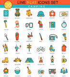 Vector Camping flat line icon set. Modern elegant style design  for web. Stock Photo