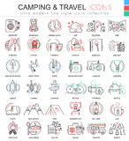 Vector camping nature adventure ultra modern color outline line icons for apps and web design. Royalty Free Stock Photo