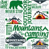 Vector camping retro styled seamless pattern or background. Vector camping and outdoor adventures retro styled seamless typographic pattern or background vector illustration