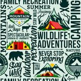 Vector camping seamless pattern or background. Vector camping and outdoor adventures seamless typographic pattern or background. Tourism, hiking and travel icons royalty free illustration