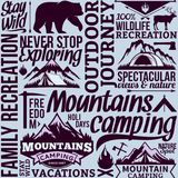 Vector camping seamless pattern or background. Vector camping and outdoor adventures seamless typographic pattern or background. Tourism, hiking and travel icons Stock Illustration