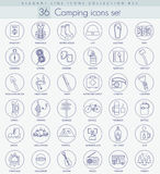 Vector camping outline icon set. Elegant thin line style design.  stock illustration