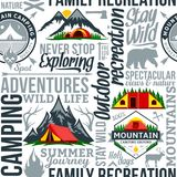 Vector camping seamless pattern or background. Vector camping and outdoor adventures seamless typographic pattern or background. Tourism, hiking and travel icons vector illustration