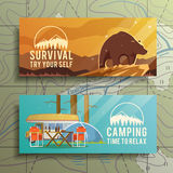 Vector camping web banners Royalty Free Stock Photography