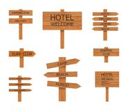 Vector Camping Wooden Signs Collection, Beach Pointer, illustrations. vector illustration