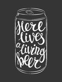 Vector can of beer lettering Stock Images
