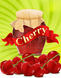 Vector a can of cherry jam with red ribbon. The  a can of cherry jam with red ribbon on green background Royalty Free Stock Images