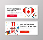 VECTOR Canada Day. Happy Canada Day  Illustration. 1st July celebration banners set with Canadian symbols Stock Image