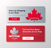 VECTOR Canada Day. Happy Canada Day  Illustration. 1st July celebration banners set with maple leaves Royalty Free Stock Images