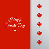 VECTOR Canada Day. Happy Canada Day  Illustration. 1st July celebration card with text on red background and maple leaves Stock Photography