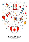 VECTOR Canada Day. Happy Canada Day  Illustration. 1st July celebration poster with Canadian symbols Royalty Free Stock Images