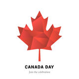 VECTOR Canada Day. Happy Canada Day  Illustration. 1st July celebration poster with polygon maple leaf Stock Images