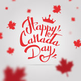 VECTOR Canada Day. Happy Canada Day  Illustration. 1st July celebration poster with text on gray background with maple leaves Royalty Free Stock Photography