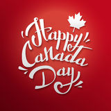VECTOR Canada Day. Happy Canada Day  Illustration. 1st July celebration poster with text on red background with maple leaves Stock Photo