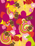 Vector Candies Background. Abstract Vector Background with Candies, Lollipops and other Sweets Royalty Free Stock Image