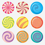 Vector candies, lollipop. Sweet candy, round caramel lollipop set, colored candies collection without wrapper, sugar sweet-stuff vector food, design element for Royalty Free Stock Photos