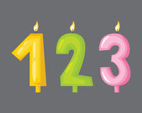 Vector candle birthday numbers with fire. Stock Photo