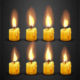 Vector candle with fire animation on transparent background. Flame animated effect illustration Royalty Free Stock Image
