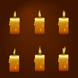 Vector candle with fire animation on transparent background. Flame animated effect illustration.  Stock Photos