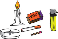 Vector of candle,lighter,matches,cigarette and ash Stock Images
