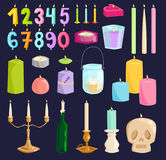 Vector candle numbers with bone fire vector decorative style elements. Vector ceremony candle numbers with fire illustration. Burning warm glowing shiny Stock Photos