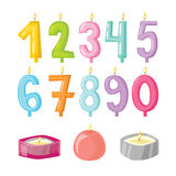 Vector candle numbers with fire. Stock Image