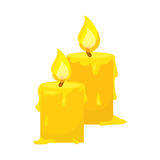 Vector of candles isolated on white. Cartoon style. Cute funny christmas icon. illustration. Stock Image