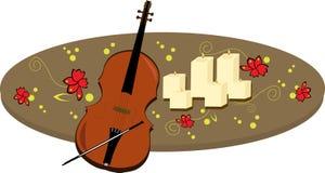 Vector candles and violin Royalty Free Stock Photo