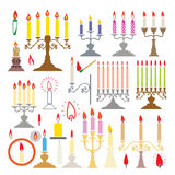 Vector candlesticks and candles. Vector colorful silhouettes of candlesticks and candles Royalty Free Stock Image