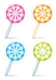 Vector candy. Set of four differently coloured striped candies Stock Image