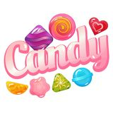 Candy Logo with Sweet Candies. Vector candy logo with sweet candies, jelly and lollipop isolated on white background stock illustration