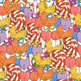 Vector Candy and Lollipop Seamless Pattern Stock Image