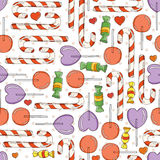 Vector Candy and Lollipop Seamless Pattern Royalty Free Stock Photo