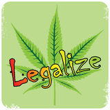 Vector cannabis leaf and legalize description,  Stock Photos