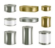 Vector canned food realistic blank metal package mockup set. Vector canned food realistic package mockup set isolated on white background. Metal tin can preserve Royalty Free Stock Photography
