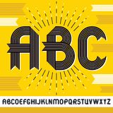 Vector capital modern alphabet letters, abc set. Trendy bold fon. T, script from a to z can be used in art  poster creation. Created using stripy ornate Royalty Free Stock Image
