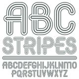 Vector capital modern alphabet letters, abc set. Trendy font, sc. Ript from a to z can be used in art  poster creation. Created using triple stripy, parallel Royalty Free Stock Image