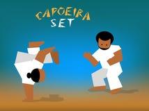 Vector capoeira set. Color silhouettes capoeira fighting. Vector set for design Royalty Free Stock Photos