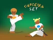 Vector capoeira set. Capoeira fighting. Vector flat illustration for design Royalty Free Stock Photos