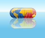 Vector Capsul. A globe in a pill form symbolizing pharmaceutical industry Stock Photos