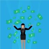 Vector - carácter de la mujer de negocios de la historieta con el dinero Fotos de archivo