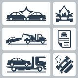 Vector car accident icons set Stock Photos