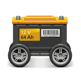 Vector Car Battery on Wheels. On white background Royalty Free Stock Image