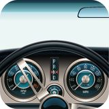Vector car dashboard square icon Royalty Free Stock Images