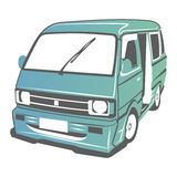 Vector car. Vector illustration of old minibus model Stock Image