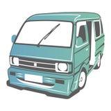 Vector car. Vector illustration of old minibus model royalty free illustration