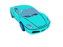 Painted blue car. On is illustred blue modern car Royalty Free Stock Photos