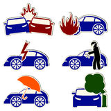 Vector car insurance and risk icons set. Car insurance and risk icons in form of stickers Royalty Free Stock Image